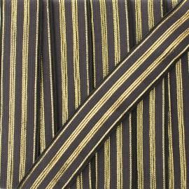20 mm striped lurex elastic band Louis  - brown/gold x 1m