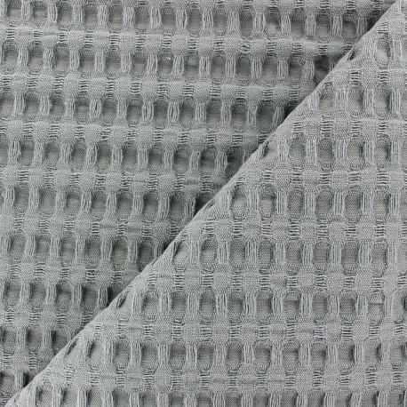 Tissu coton nid d'abeille XL - gris x 10cm