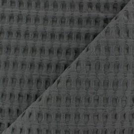 Tissu coton nid d'abeille XL - gris anthracite x 10cm