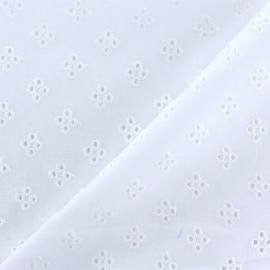 Openwork cotton fabric - white Kensington x 10cm
