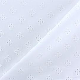 Tissu Voile de coton broderie anglaise Noélia - blanc x 10cm
