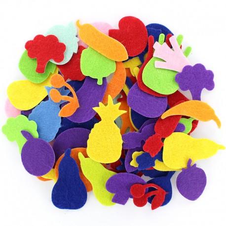 Adhesive Felt Shapes (300 pcs) - Veggie & Fruits
