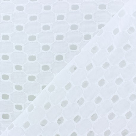 Openwork cotton fabric - white Leighton x 10cm