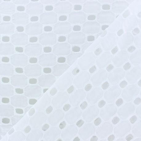 Tissu Voile de coton broderie anglaise Leighton - blanc x 10cm