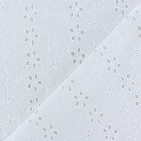 Tissu Voile de coton broderie anglaise Chelsea - blanc x 10cm