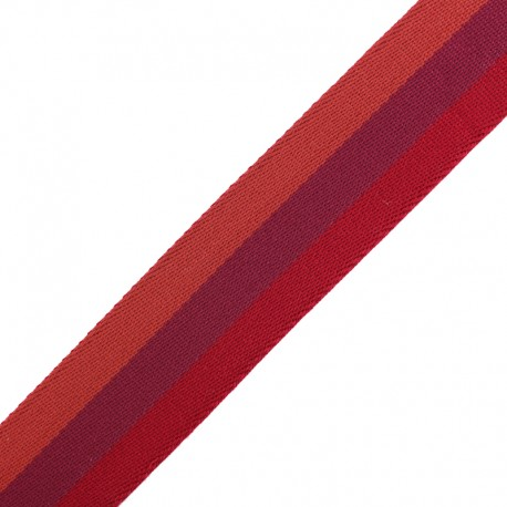 40 mm Reversible Striped Strap - Nuance Red x 50cm