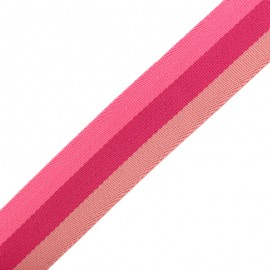 40 mm Reversible Striped Strap - Nuance Fuchsia x 50cm