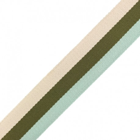Sangle Rayée Réversible Nuance 40 mm - Vert x 50cm