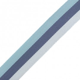 Sangle Rayée Réversible Nuance 40 mm - Bleu x 50cm