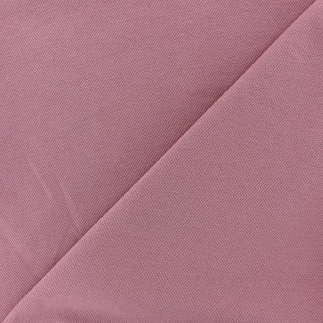 Tissu jersey piqué spécial Polo - vieux rose x 10cm