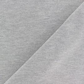 Tissu jersey piqué spécial Polo - gris chiné x 10cm