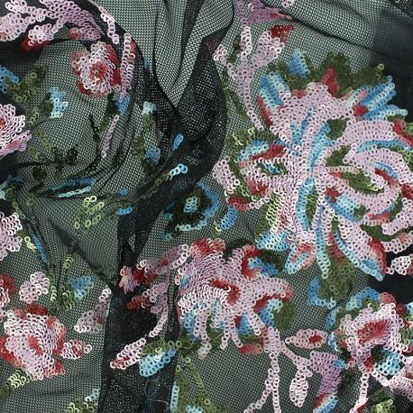 Sequin Embroidered tulle fabric - black Vera x 30 cm