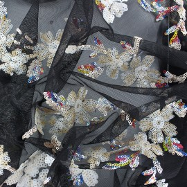 Sequin Embroidered tulle fabric - black Vera x 30 cm