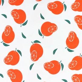 Tissu jersey parfumé orange - blanc x 10cm