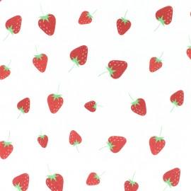 Tissu jersey fraise - blanc x 10cm
