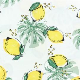 Tissu Viscose Citronnade d'été - blanc x 10cm