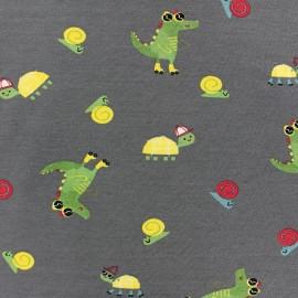 cotton Jersey fabric - Grey Croco-ride x 10cm