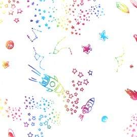 Tissu jersey Rainbow space - blanc x 10cm