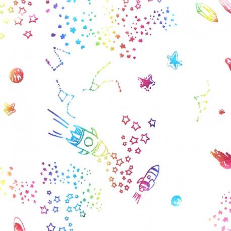 cotton Jersey fabric - white Rainbow space x 10cm