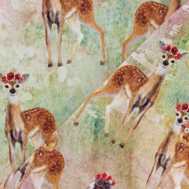 Tissu jersey Joli Bambi - beige x 10cm