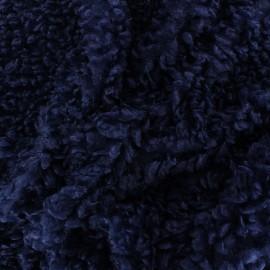 Faux sheep fur fabric - navy blue Nebula x 10cm