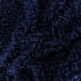 Tissu Fourrure mouton Nébuleuse - Bleu marine x 10cm