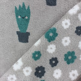 Double sided baby's security blanket - Grey Cactus x 10cm