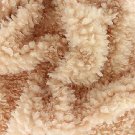 Tissu Fourrure mouton Nébuleuse - Camel x 10cm