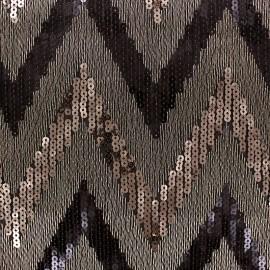 Tissu tulle brodé de sequin Melania - noir/doré x 30cm