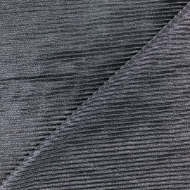 Tissu polyester lurex aspect côtelé - argent x 10cm