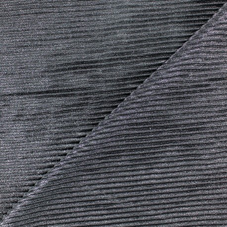 Ribbed aspect lurex polyester fabric - silver x 10cm