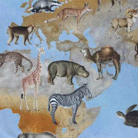 Panel cotton fabric - Planisphere of Wildlife x 132 cm