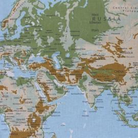 Panneau polycoton - Planisphère - naturel x 62 cm