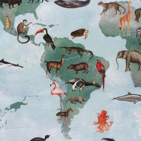 Panneau coton - Planisphère animaux sauvages x 65 cm