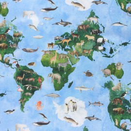 Panel cotton fabric - Blue small animals Planisphere x 40 cm