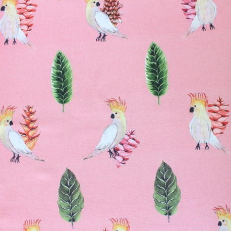 Cotton fabric - Pink Parrot x 30cm