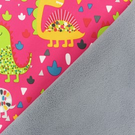 Tissu Softshell Dino-pop - rose x 10cm