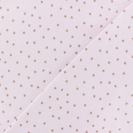 Rico Design jersey Cotton fabric - pink /gold Star x 10cm