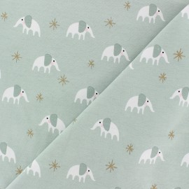 Rico Design jersey Cotton fabric - mint green/gold éléphantou x 10cm