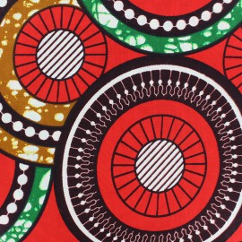 Tissu Wax  Jamala - orange x 10cm