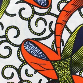 Wax print fabric - white Kimani x 10cm