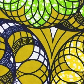 Tissu Wax Gamada - jaune x 10cm