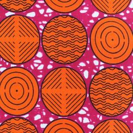 Tissu Wax Daanaa - orange x 10cm