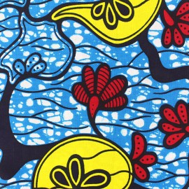 Tissu Wax Tisha - bleu x 10cm