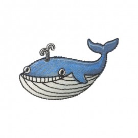 Monstro the Whale Iron-On Patch - Blue