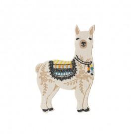 Serge the Llama Iron-On Patch - Beige