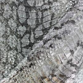 Tissu Simili cuir - Cobra - Argent x 10cm