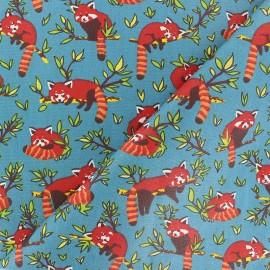 Cretonne cotton Fabric - Blue Red Panda x 10cm