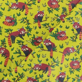 Coated cretonne cotton Fabric - Yellow Red Panda x 10cm