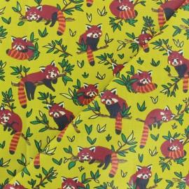 Coated cretonne cotton Fabric - Yellow Red Panda x 10cm